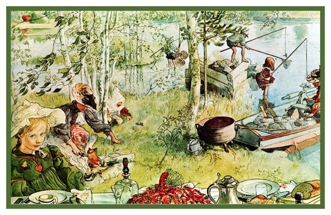 Carl Larsson Start Crayfish Season Counted Cross Stitch Chart Pattern