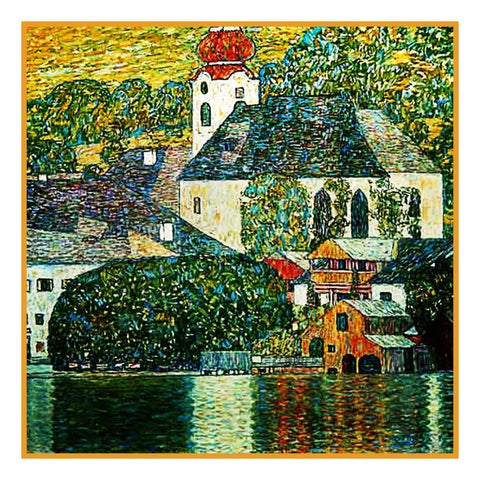 Symbolist Artist Klimt's Church in Unterach Counted Cross Stitch Pattern