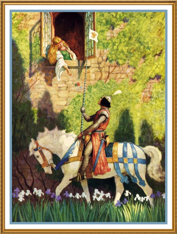 N.C. Wyeth Prince Horseback Serenades Princess Counted Cross Stitch Pattern