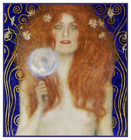 Art Nouveau Nuda Veritas detail Gustav Klimt Counted Cross Stitch Chart Pattern