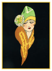 Art Deco Woman with Fur from Magazine Cover Counted Cross Stitch Chart Pattern
