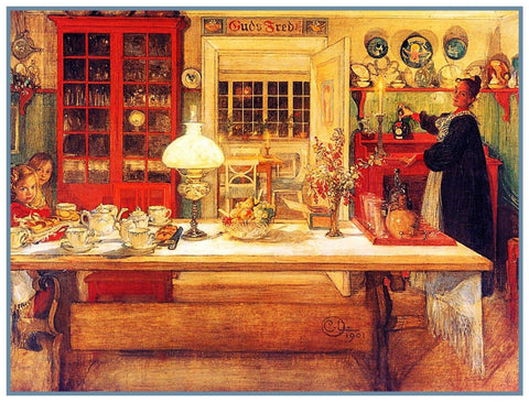 Karin Preparing For a Game  Swedish Carl Larsson  Counted Cross Stitch Pattern