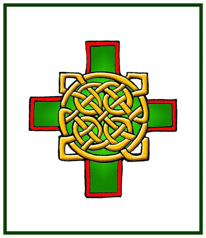 Celtic Knot Cross Gold Green and Red Counted Cross Stitch Pattern