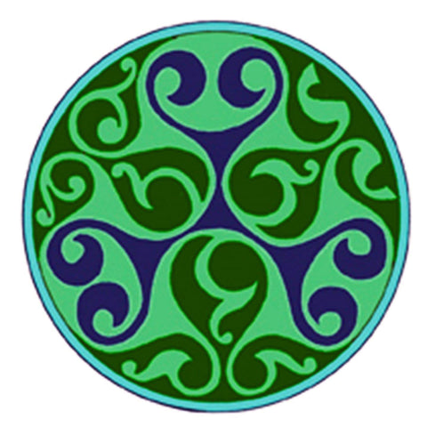 Celtic Medallion Mandala in Green and Blue Counted Cross Stitch Pattern