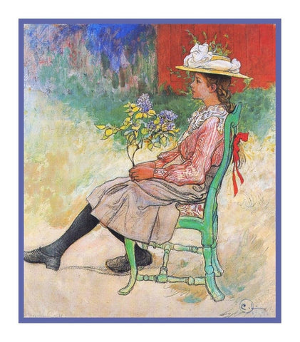 Dagmar's Garden Bench inspired Swedish Carl Larsson Counted Cross Stitch Pattern