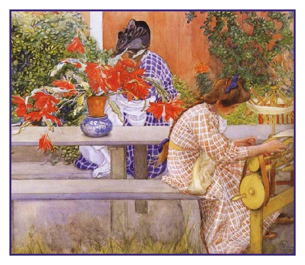 Karin Brita in Garden Cactus Swedish Carl Larsson Counted Cross Stitch Pattern