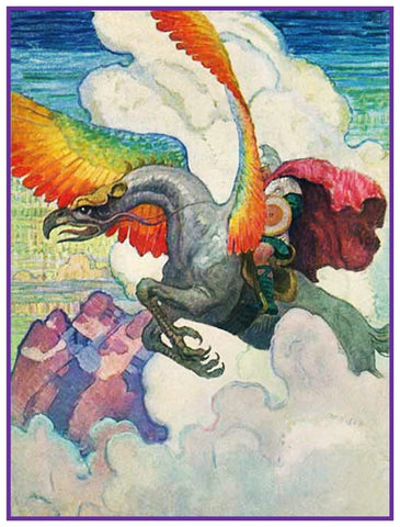 A Flying Dragon by N.C.Wyeth Counted Cross Stitch Pattern