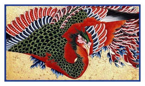 Asian Hokusai Japanese Phoenix detail Woodblock Counted Cross Stitch Pattern