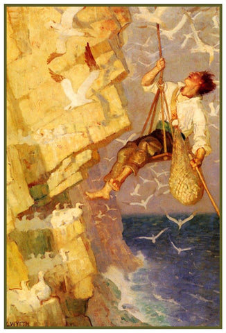 Man Climbing a Cliff or Craig by N.C.Wyeth Counted Cross Stitch Pattern