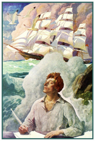 Boys Dream Clipper Ship Sea Fever by N.C.Wyeth Counted Cross Stitch Pattern