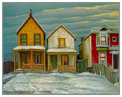 Houses in Winter by  Canadian Artist  Lawren Harris Counted Cross Stitch Pattern