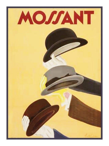 Mossant Hat Advertisement Art by Leonetto Cappiello Counted Cross Stitch Pattern