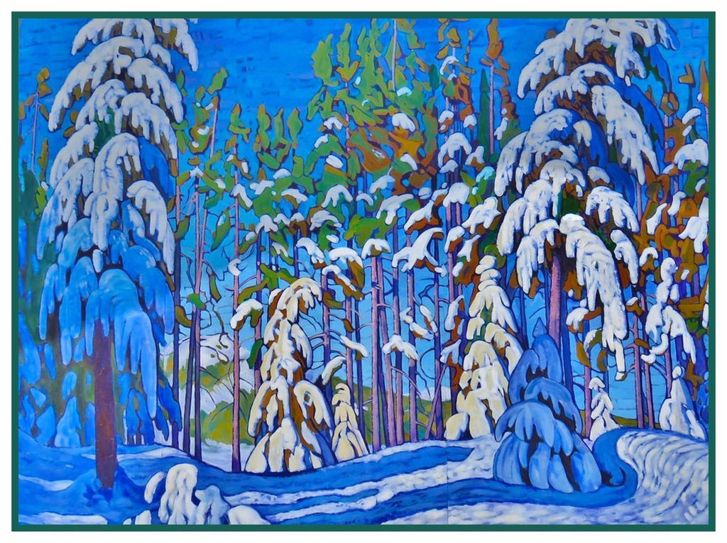 A Snowy Day Landscape by Canadian Lawren Harris Counted Cross Stitch Pattern