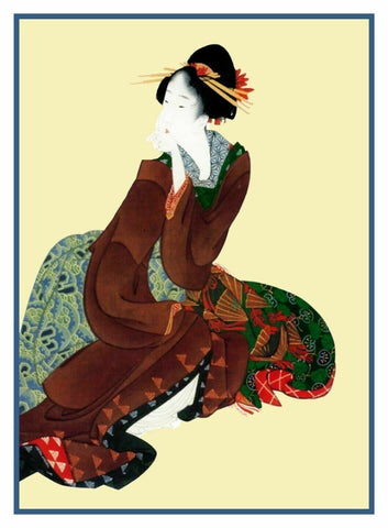 Japanese Hokusai Kimono Woman Sitting Counted Cross Stitch Chart Pattern