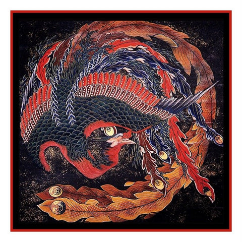 Japanese Artist Hokusai The Phoenix Asian Counted Cross Stitch Chart Pattern