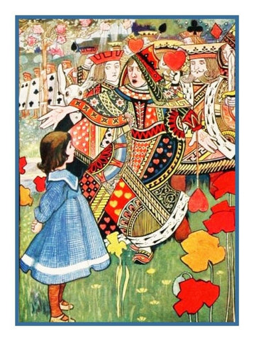 John Tenniel King Queen Alice in Wonderland Counted Cross Stitch Chart Pattern