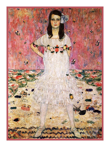 Symbolist Artist Klimt's Portrait of Mada Primavesi Counted Cross Stitch Pattern