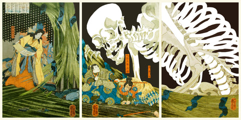 Takiyasha the Witch and the Skeleton Spectre by Japanese artist Utagawa Kuniyoshi Counted Cross Stitch or Counted Needlepoint Pattern