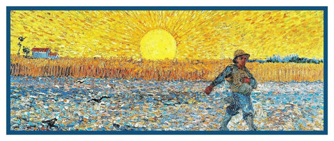 Wheat Sower at Sunset by Vincent Van Gogh Counted Cross Stitch Pattern