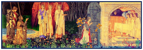 Holy Grail Vision by Arts and Crafts Movement Founder William Morris Counted Cross Stitch or Counted Needlepoint Pattern