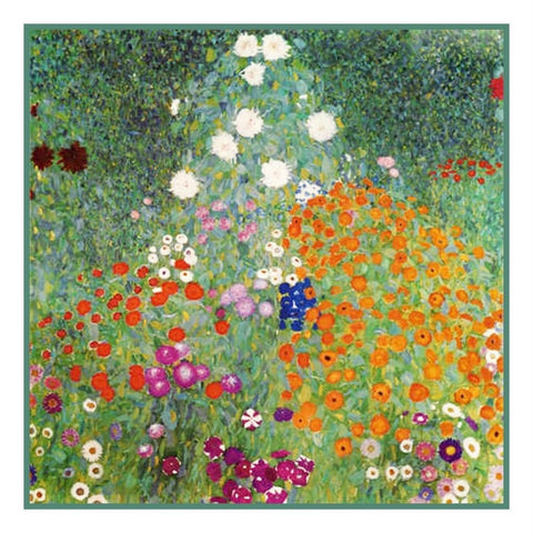 Symbolist Klimt Flower Garden Counted Cross Stitch Chart Pattern