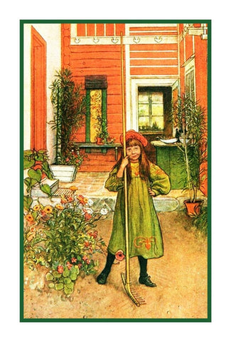 Scandinavian Carl Larsson Hilda Raking in Garden Counted Cross Stitch Pattern