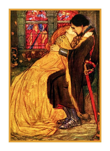 Pre Raphaelite Florence Harrison Guinevere Lancelot Counted Cross Stitch Pattern