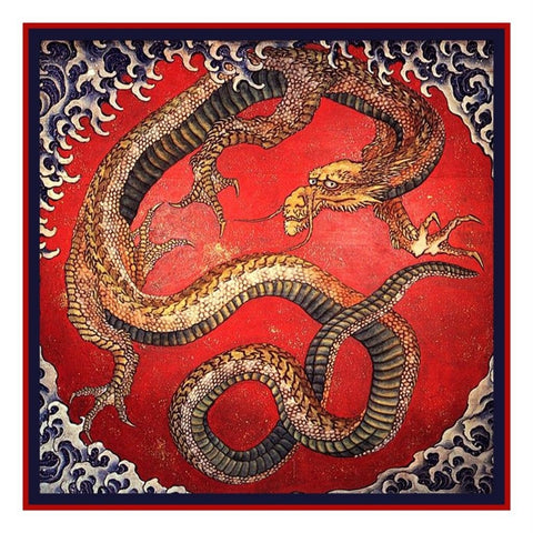Asian Japanese Hokusai The Dragon Counted Cross Stitch Chart  Pattern