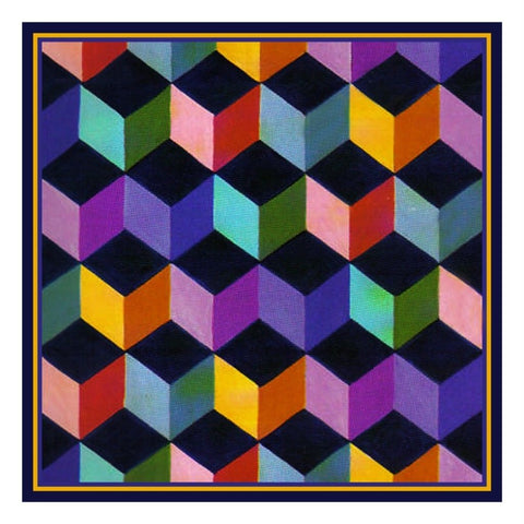 Geometric Tumbling Blocks inspired by Amish Quilt Counted Cross Stitch Pattern