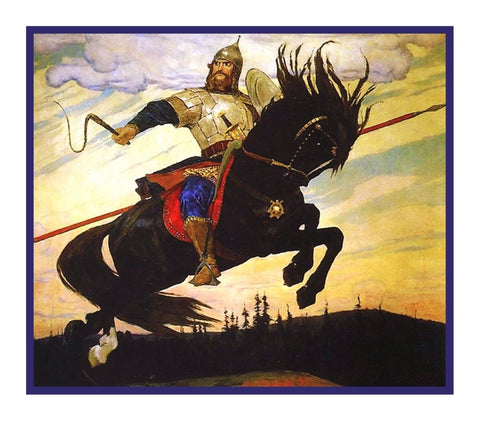Russian Vasnetsov's A Knights Mighty Leap Counted Cross Stitch Chart Pattern