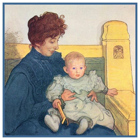Carl Larsson Karin Erik Mother Baby Counted Cross Stitch Chart Pattern