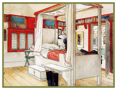 Carl Larsson Father Papa's Bedroom Counted Cross Stitch Chart Pattern