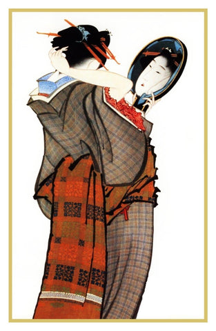 Japanese Hokusai Kimono Woman Mirrors Counted Cross Stitch Chart Pattern