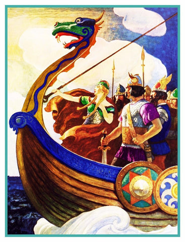 N.C. Wyeth Viking Ship Queen Astrid Counted Cross Stitch Chart Pattern