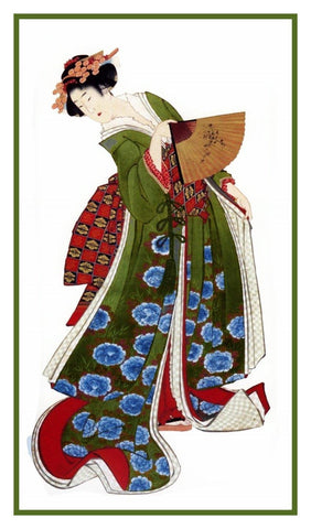 Japanese Hokusai Asian Kimono Woman Fan Counted Cross Stitch Pattern
