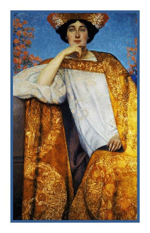Art Nouveau Gustav Klimt Portrait of Golden Woman Counted Cross Stitch Pattern
