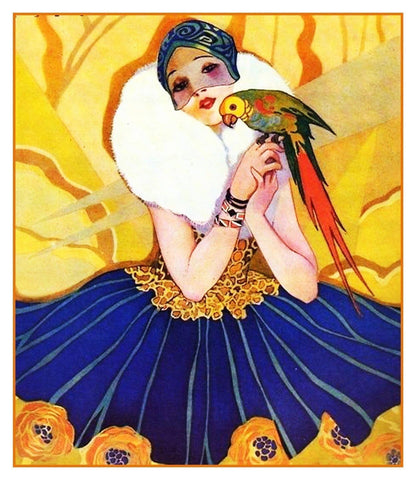 Art Deco Flapper Woman with a Parrot Bird Counted Cross Stitch Pattern