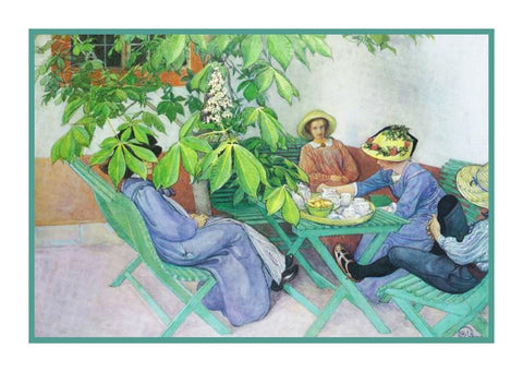 Tea in Garden Chestnut Tree Swedish Carl Larsson  Counted Cross Stitch Pattern