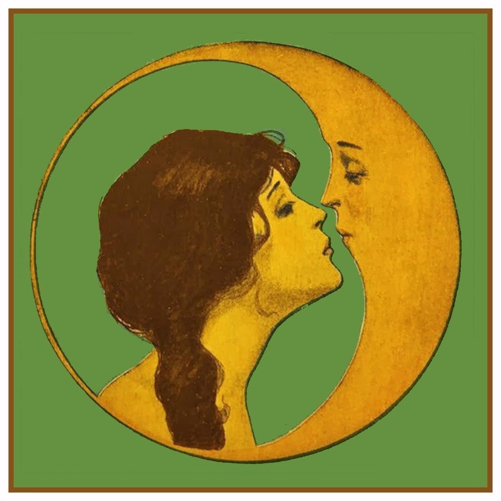 Vintage Art Deco Woman Whispering Crescent Moon Counted Cross Stitch Pattern