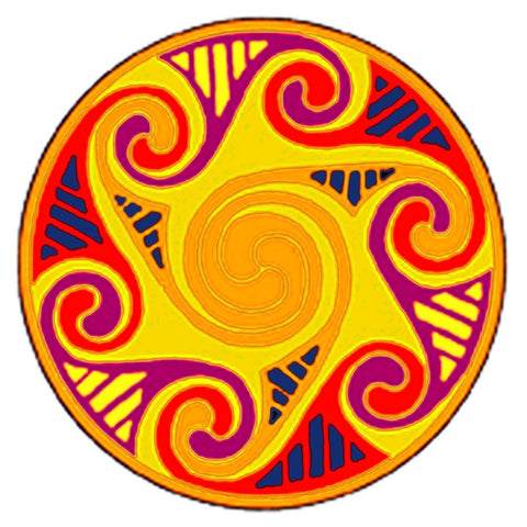 Celtic Medallion Mendala in Gold, Orange and Blue Counted Cross Stitch Pattern