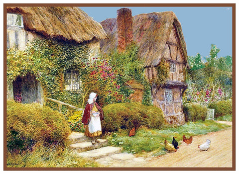 Feeding Chickens English Country Cottage Strachan Counted Cross Stitch Pattern