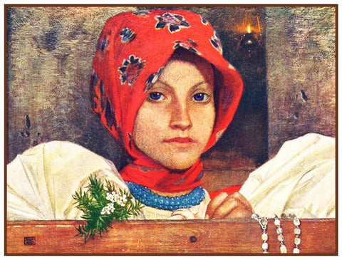 Young Girl in Slovakian Church by Marianne Stokes Counted Cross Stitch Pattern