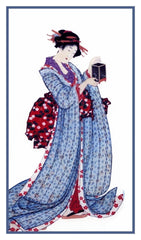 Asian Hokusai Japanese Kimono Woman Lantern Counted Cross Stitch Pattern