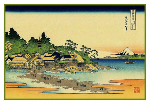 Japanese Hokusai Enoshima in Sagami Counted Cross Stitch Chart Pattern