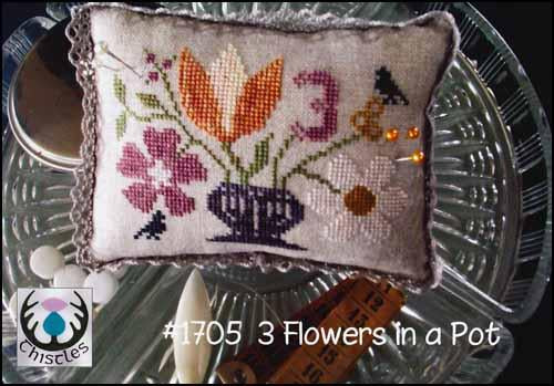 3 Flowers In A Pot by Thistles Counted Cross Stitch Pattern