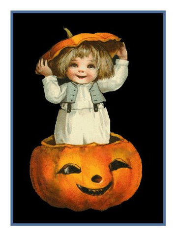 Victorian Halloween Small Child, Hat and a Pumpkin Counted Cross Stitch Pattern DIGITAL DOWNLOAD