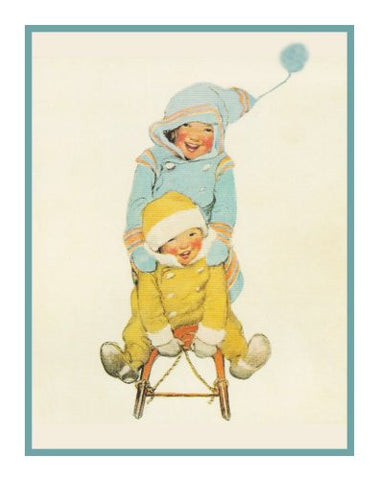 Brother and Sister Sledding By Jessie Willcox Smith Counted Cross Stitch or Counted Needlepoint Pattern