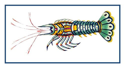 Fallours' Renard's Fantastic Colorful CrayFish Counted Cross Stitch or Counted Needlepoint Pattern