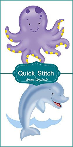 Quick Stitch Child Baby Purple Octopus Dancing Dolphin 2 Counted Cross Stitch or 2 Counted Needlepoint Patterns