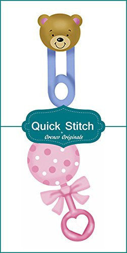 Quick Stitch Child Baby Teddy Bear Diaper Pi Pink Rattle 2 Counted Cross Stitch or 2 Counted Needlepoint Patterns